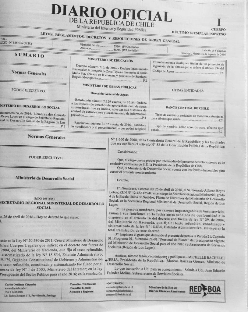 Ultima edicion en papel del Diario Oficial