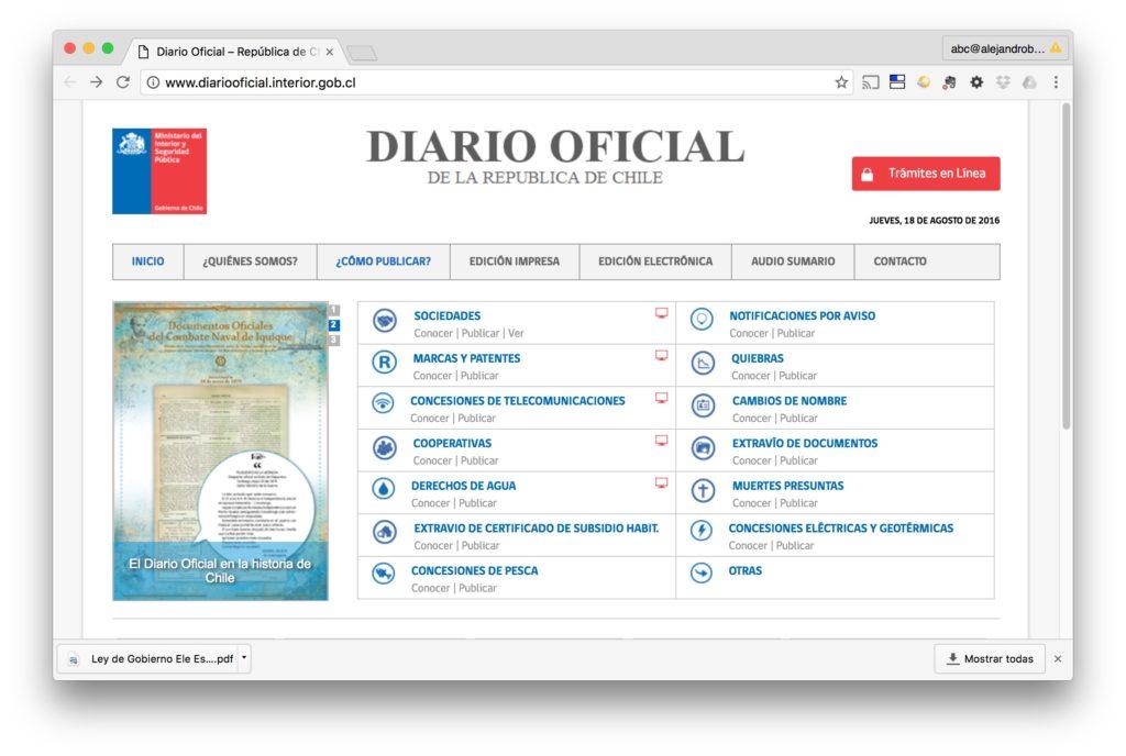 Pagina Principal - Diario Oficial