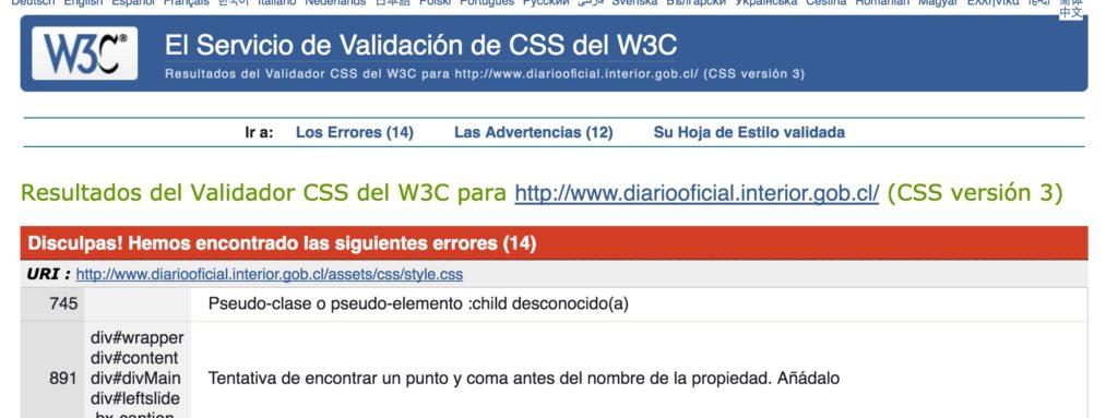Diario Oficial - Evaluacion W3C