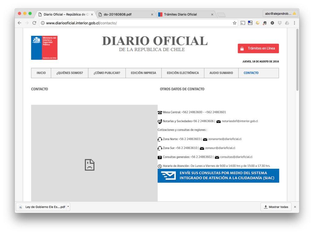 Diario Oficial - Pagina Contacto