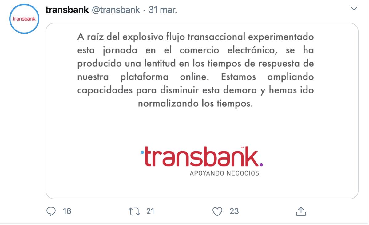 Mensaje de twitter del procesador de pagos Transbank