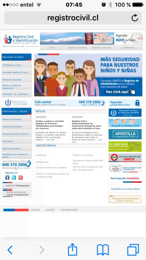Sitioe web registro en celular